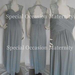 Misses Long Chiffon Lace Silver Maternity Dress